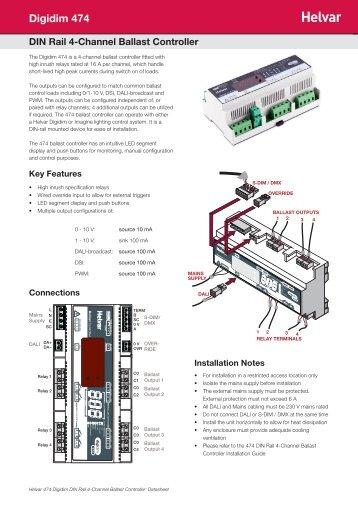 Digidim 474 DIN Rail 4-Channel Ballast Controller - Helvar
