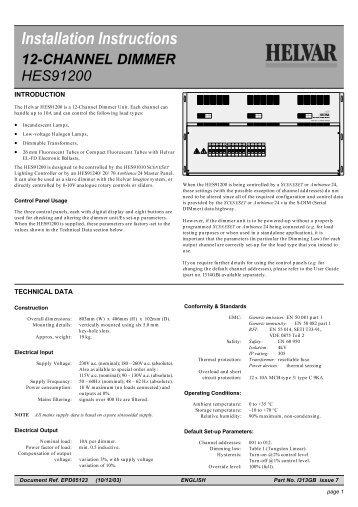 Installation Instructions - Helvar
