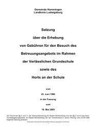 Gebühren Betreuungsangebot und Hort - Gemeinde Hemmingen