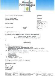 Gemeinderat Sitzungsvorlage - Gemeinde Hemmingen