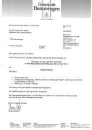 Gemeinderat Tagesordnung - Gemeinde Hemmingen