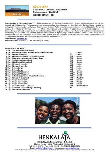 SÜDAFRIKA - Henkalaya - Reisen