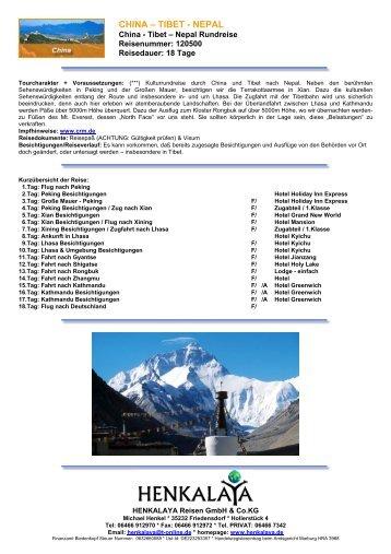 CHINA – TIBET - NEPAL - Henkalaya - Reisen