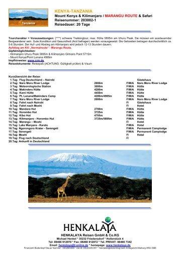 KENYA-TANZANIA - Henkalaya - Reisen