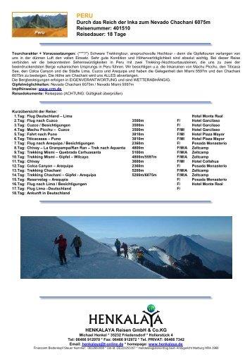 Durch das Reich der Inka zum Nevado Chachani 6075m ...