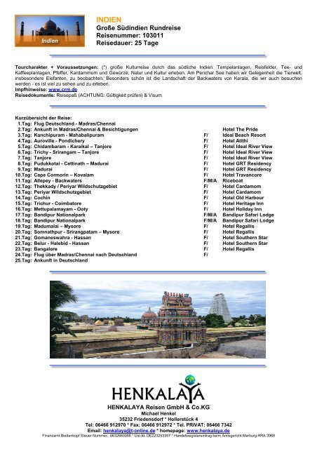 INDIEN - Henkalaya - Reisen