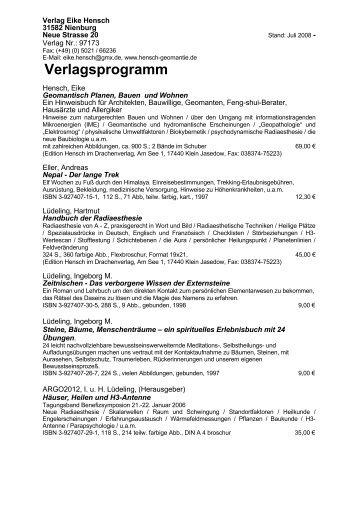 Verlagsprogramm - Verlag Eike Hensch