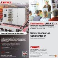 Fachseminar NSA 2013 Niederspannungs- Schaltanlagen - Hensel