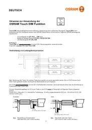 Hinweise zur Anwendung der OSRAM Touch DIM Funktion - Hera