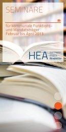 Seminare für kommunalpolitische Funktions- und Mandatsträger 2013