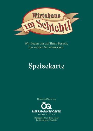 Speisekarte vom Schichtl - Herrmannsdorfer Landwerkstätten