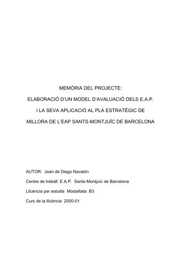 memòria del projecte: elaboració d'un model d'avaluació dels eap i ...
