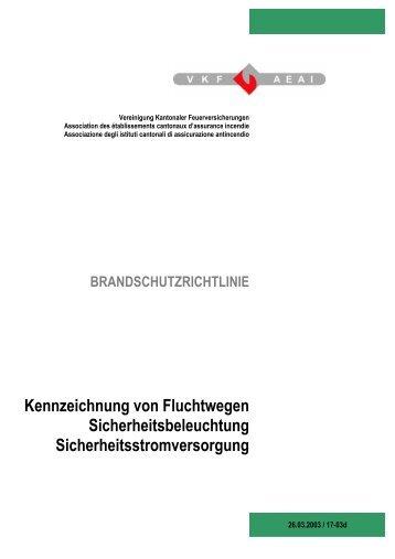 Richtlinie VKF Kennzeichnung Fluchtwege