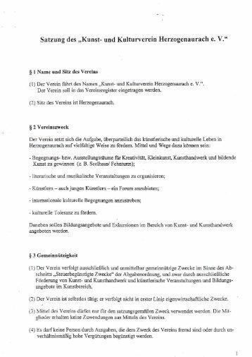 Satzung des Kunst- und Kulturvereins Herzogenaurach e.V.