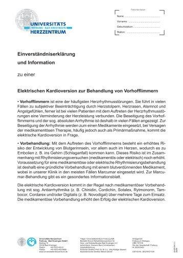Einverständniserklärung - Herz-Zentrum Bad Krozingen
