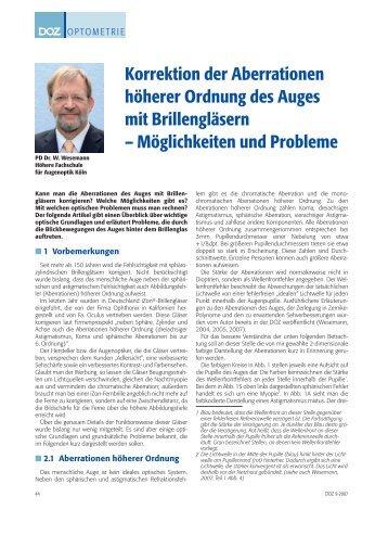 Wesemann, W., (2007) Korrektion der Aberrationen höherer Ordnung