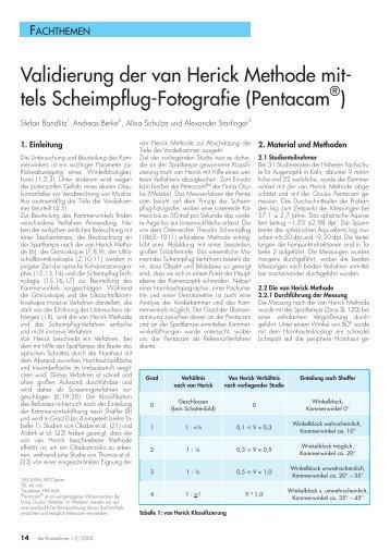 Validierung der van Herick Methode mit- tels Scheimpflug-Fotografie ...