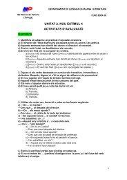 UNITAT 2. NOU ESTÍMUL 4 ACTIVITATS D'AVALUACIÓ