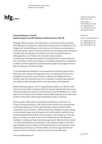 PM Neubesetzungen WS 2007/08 - Hochschule für Gestaltung ...