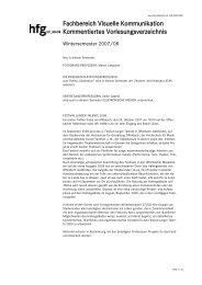 VK Kommentiertes Vorlesungsverzeichnis WS 2007/08