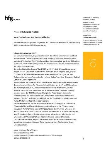 Neue Publikationen - Hochschule für Gestaltung Offenbach