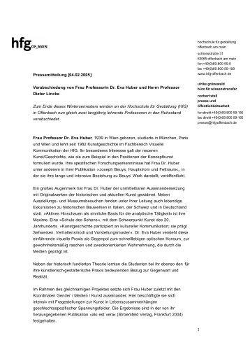 Pressemitteilung [04.02.2005] - Hochschule für Gestaltung ...