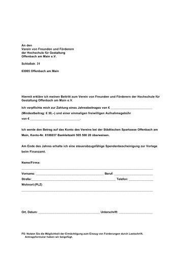Beitrittserklärung - Hochschule für Gestaltung Offenbach
