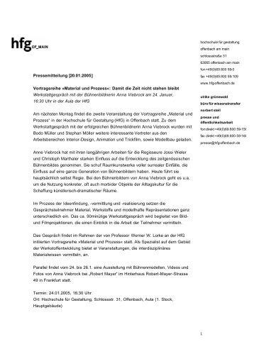 Vortragsreihe »Material und Prozess - Hochschule für Gestaltung ...