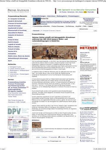 Hetzner Online schafft mit ... - Habitat for Humanity Deutschland
