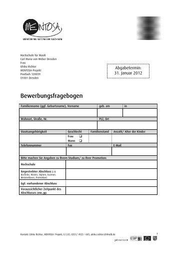 Bewerbungsfragebogen - Hochschule für Musik Carl Maria von ...