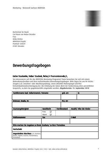 Bewerbungsfragebogen Bewerbungsfragebogen - Hochschule für ...
