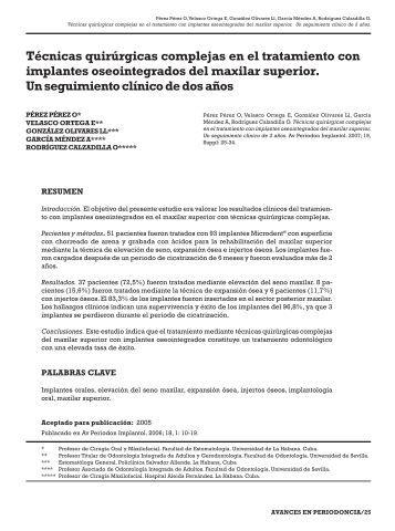 Técnicas quirúrgicas complejas en el tratamiento ... - SciELO España