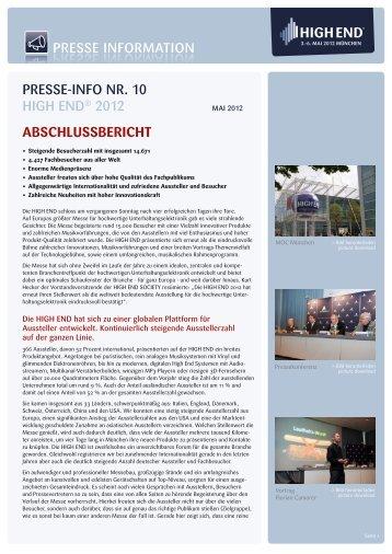 [PDF] Pressemitteilung: HIGH END® 2012 - High End Society