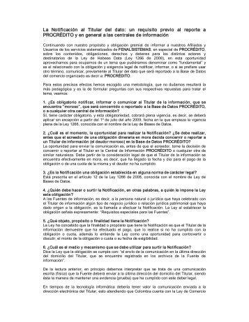 La Notificación al Titular del dato: un requisito ... - Fenalco Antioquia