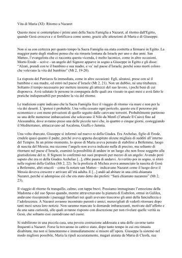 PDF: Vita di Maria (XI): Ritorno a Nazaret