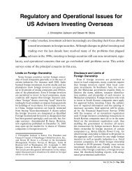 Regulatory and Operational Issues for US Advisers Investing Overseas