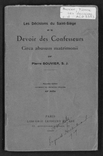 Devoir des Confesseurs