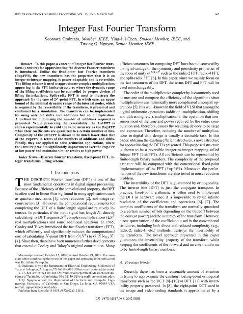 Integer fast Fourier transform - Signal Processing, IEEE     - DocJava