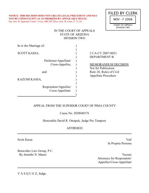 FILED BY CLERK - Arizona Court of Appeals - Division Two