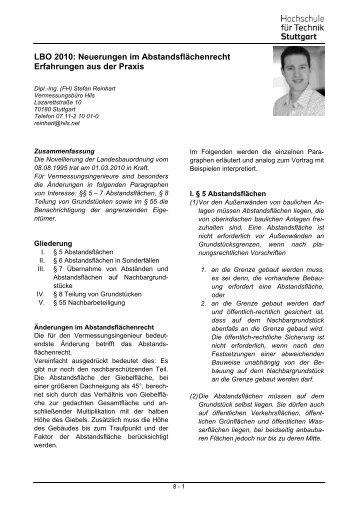 LBO 2010: Neuerungen im Abstandsflächenrecht Erfahrungen aus ...