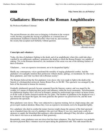 Gladiators: Heroes of the Roman Amphitheatre