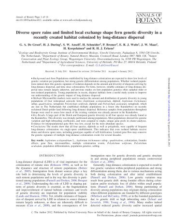 Diverse spore rains and limited local exchange ... - Annals of Botany