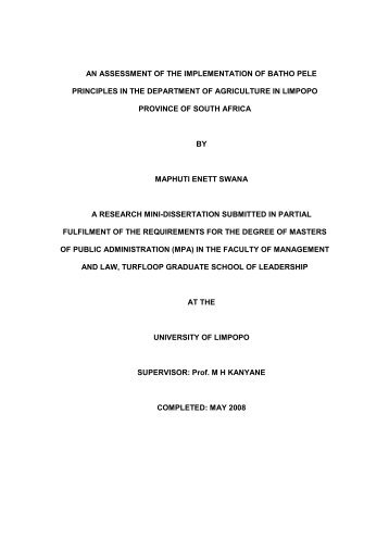 An assessment of the implementation of batho pele - University of ...