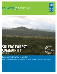 Suledo Forest Community, Tanzania. Equator Initiative