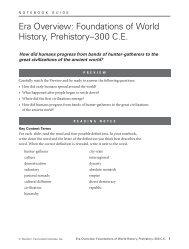 Era Overview: Foundations of World History, Prehistory–300 C.E.