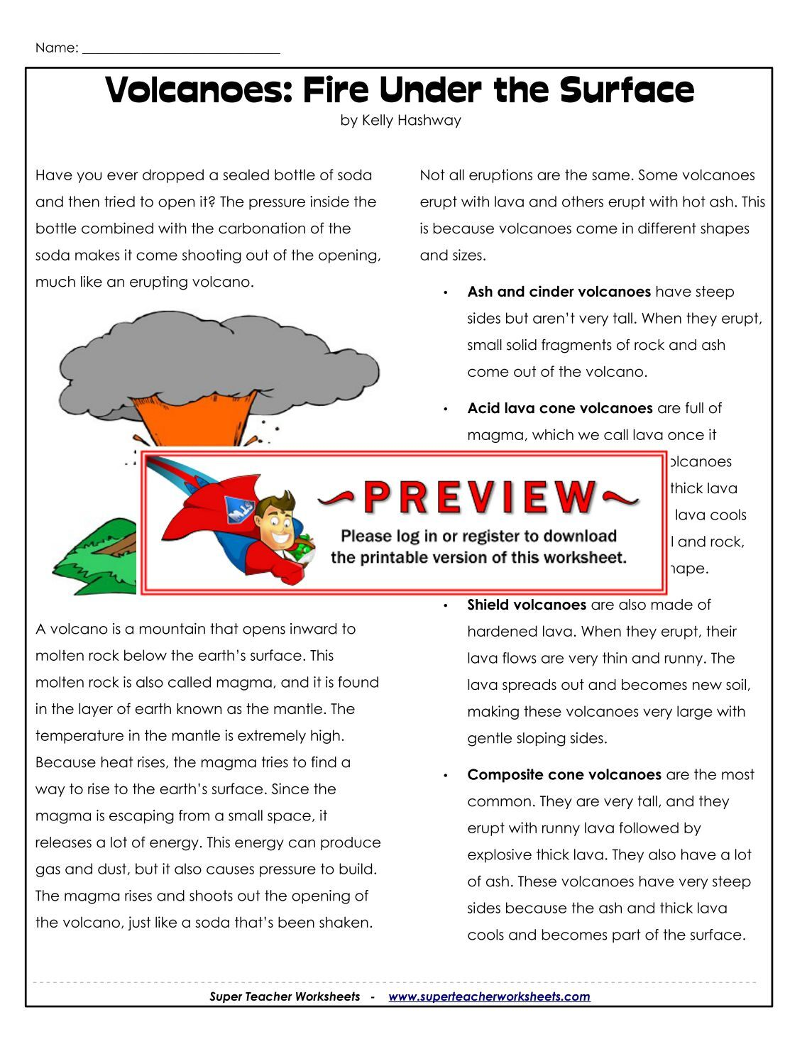worksheet Volcanoes Worksheets 120 free magazines from superteacherworksheets com com