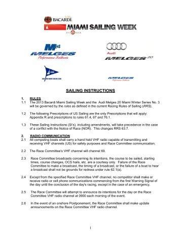 SAILING INSTRUCTIONS - Miami Sailing Week