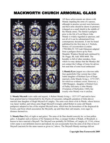 MACKWORTH CHURCH ARMORIAL GLASS - Derby Heritage Forum