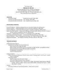 CURRICULUM VITAE - Oklahoma Biological Survey - University of ...