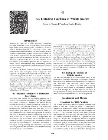 Key Ecological Functions of wildlife Species - Northwest Habitat ...